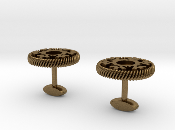 Snowflake Round Face Cufflinks 3d printed