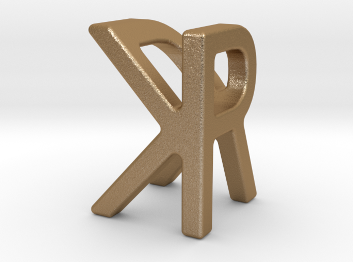 Two way letter pendant - KR RK 3d printed