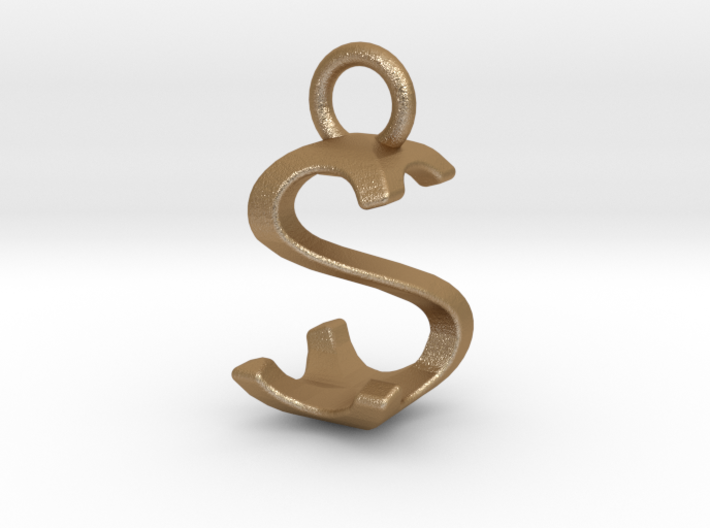Two way letter pendant - SS S 3d printed