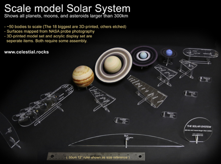True scale model Solar-System. Moons & all planets 3d printed