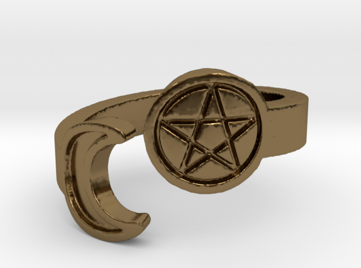 Crescent Moon and Pentacle Ring Size 8.25 3d printed