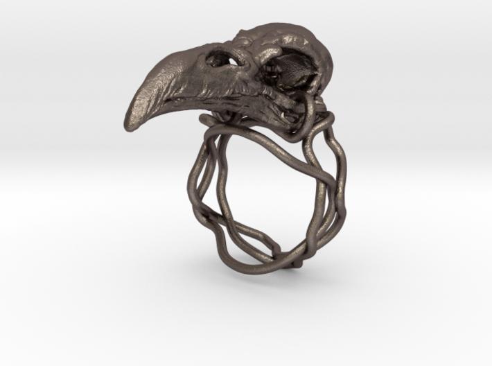 Raven skull ring  3d printed
