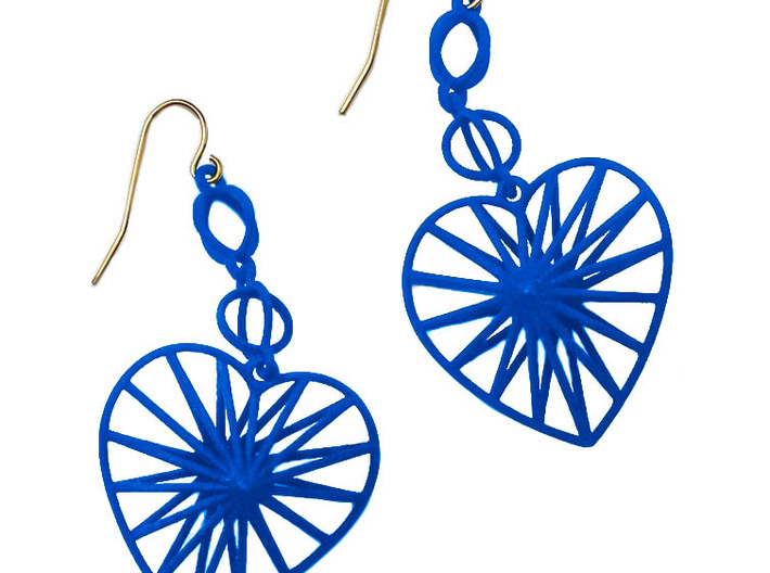 Radiant Heart Earrings 3d printed