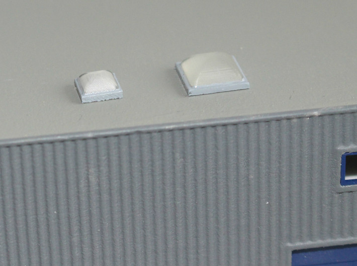 10x Skylight Size 2 3d printed Skylights size 1 (left) and 2 (right) on a N scale building