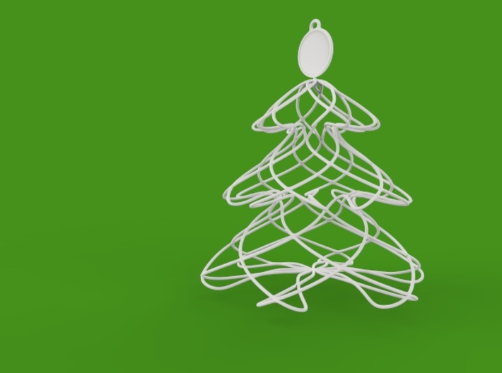 Twisted tree Christmas ornament 3d printed perspective view render