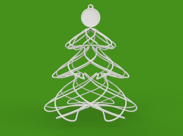 Twisted tree Christmas ornament 3d printed front view render