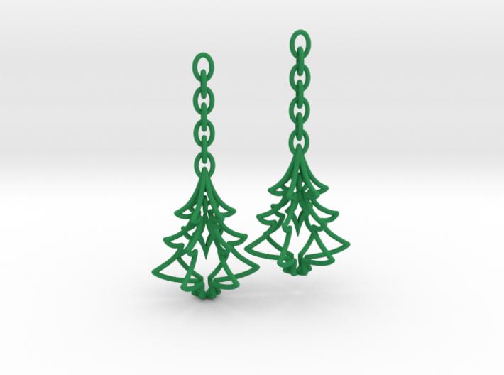 Christmas Tree Star Earrings 3d printed