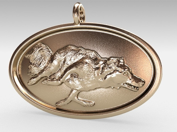"Agility Dog Pendant - 1 1/4 "" Border Collie. 3d printed My own 18k Gold Plated RENDER, just to show model."