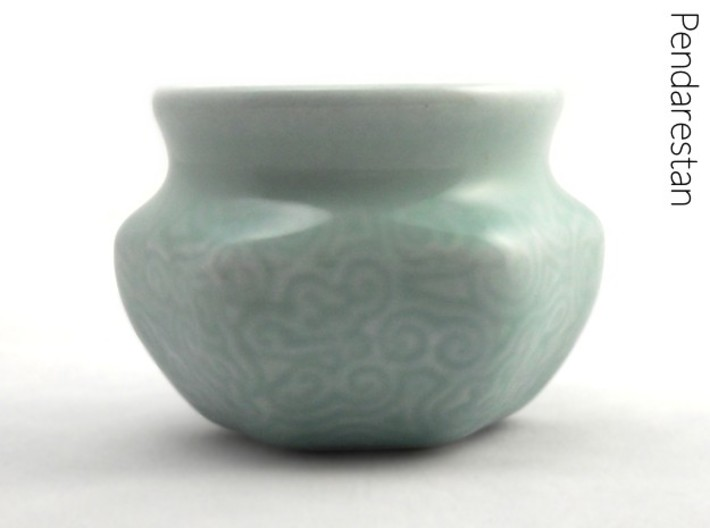 Spiral wave espresso cup 3d printed Finely decorated celadon espresso cup