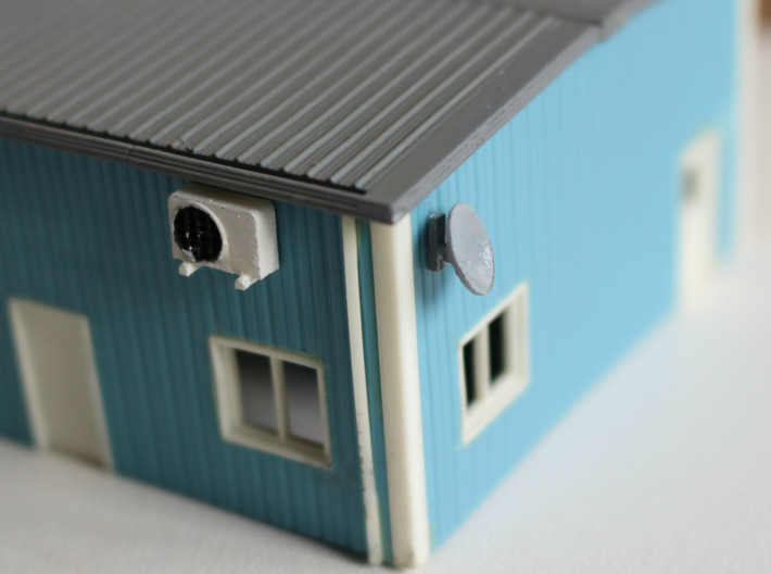 N scale Rooftop Detail Set 27pc 3d printed Wall mounted satellite dish
