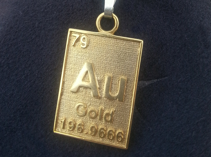 Gold Periodic Table Pendant 3d printed The Gold Periodic Table Pendant in gold plated brass.