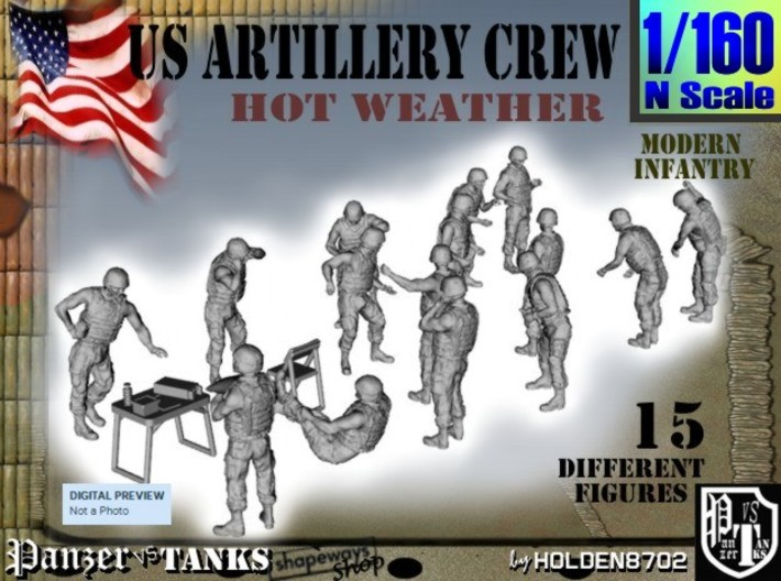 1-160 US Artillery Crew Hot Weather 3d printed