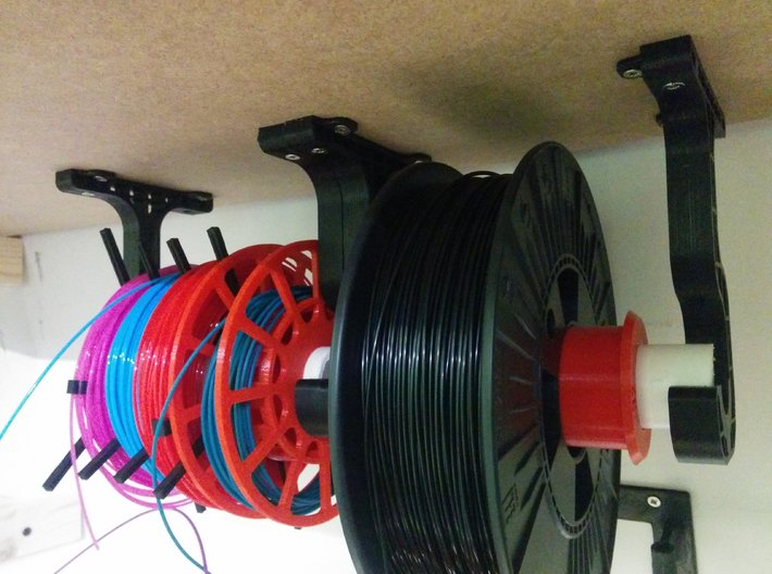 Easy access under shelf spool hanger 3d printed Prototype in action