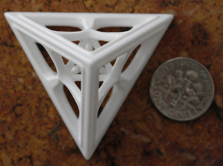 Tetrahedron 3d printed White Strong & Flexible Polished Medium