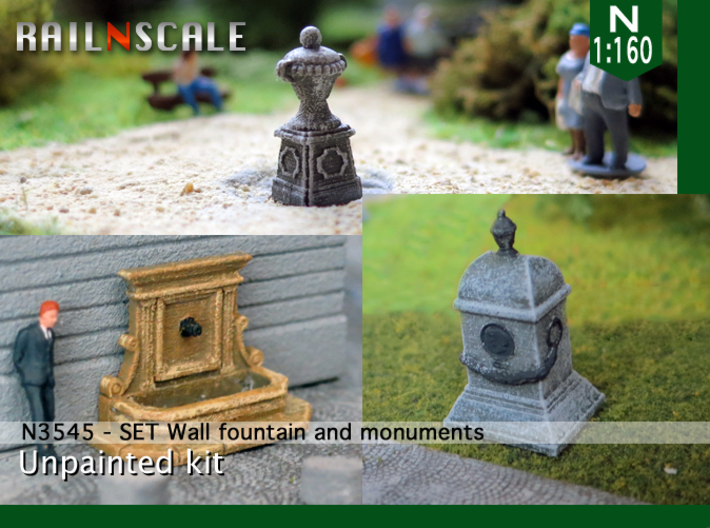 SET Wall fountain with monuments (N 1:160) 3d printed