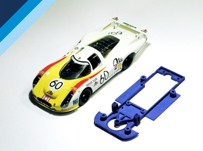 1/32 SRC Porsche 907 / 908 Chassis for Slot.it pod 3d printed Chassis compatible with SRC Porsche 908L, 907K and 907L body (not included)
