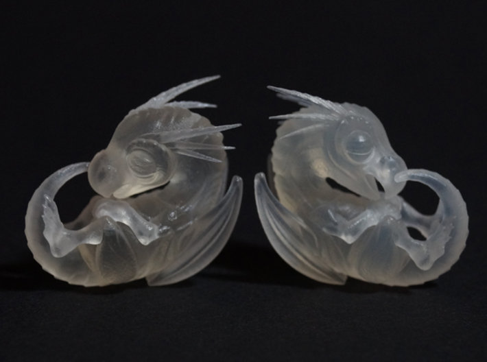 Tiny 'Crystalised' Baby Dragon 3d printed frosted Extreme Detail vs. Frosted Ultra Detail