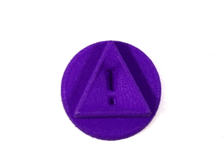 Reminder Token With Exclamation, Pandemic Legacy 3d printed Image of piece printed in purple strong and flexible.