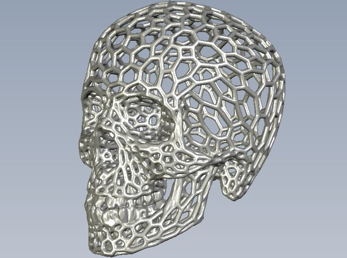 Human skull skeleton perforated sculpture 3d printed