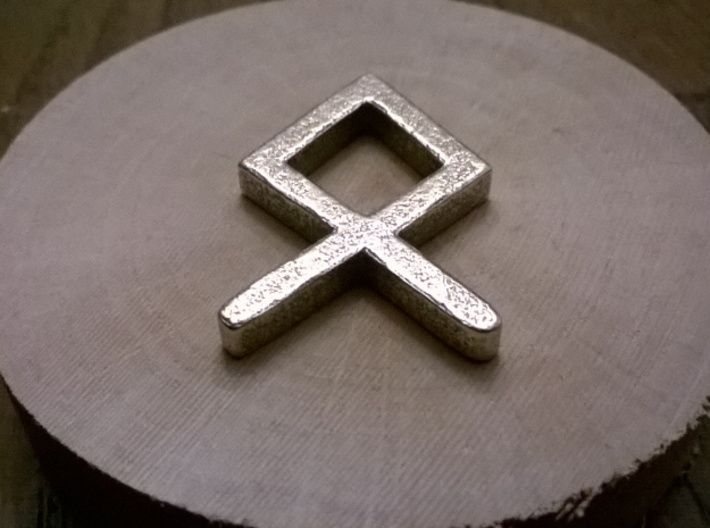 Othila Rune: the symbol of Odin 3d printed Printed in Stainless Steel. Simple but nice :D