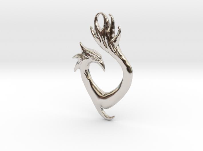 Phoenix Heart Pendant 3d printed
