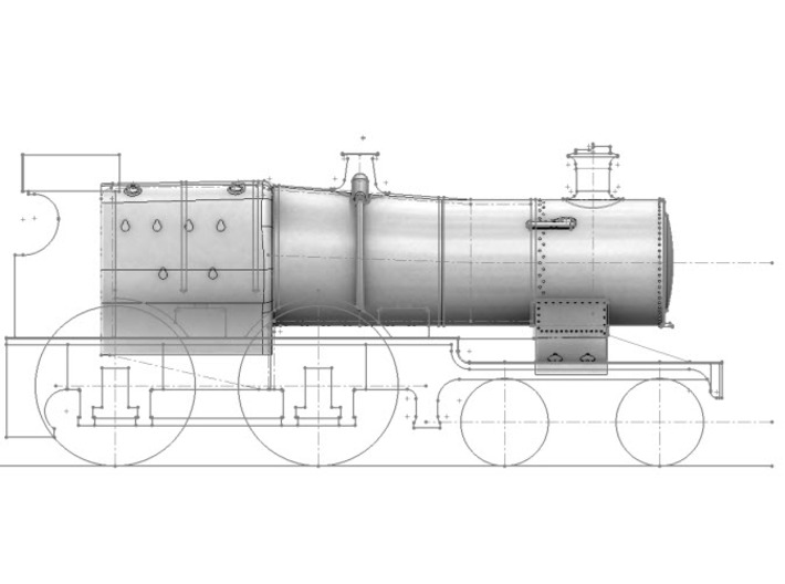 3700 City Class boiler, smokebox, firebox, 2mm FS 3d printed Side view showing 3D model in-situ