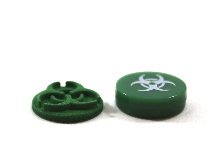 Pandemic Infection Marker -- Legacy Board Sized 3d printed Image of token printed in Green strong & flexible polished next to token from game.