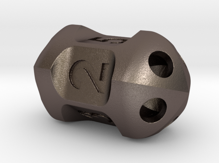 Five sided 'pepperpot' dice 3d printed
