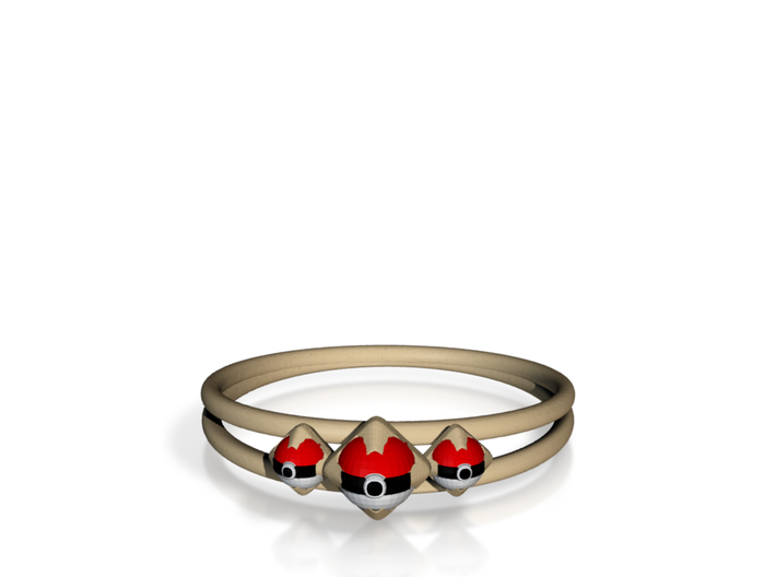 Triple Pokeball Ring, size 7 3d printed