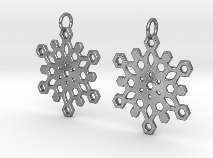 Snowflake Mandala Earrigs 3d printed