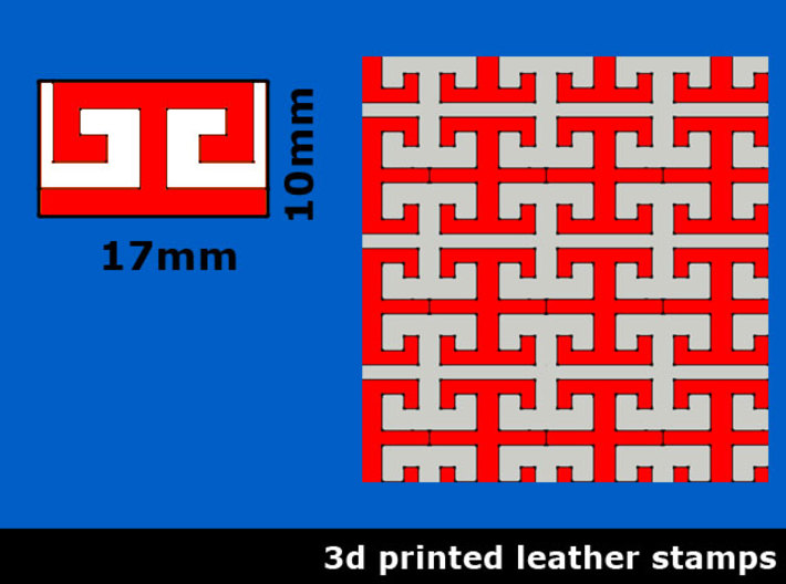 Leather stamp 13, border/pattern stamp for leather 3d printed