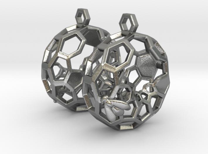 Bees and Honeycomb Earrings - Circular 3d printed