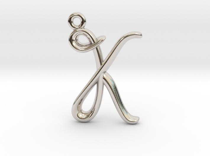 K Initial Charm 3d printed