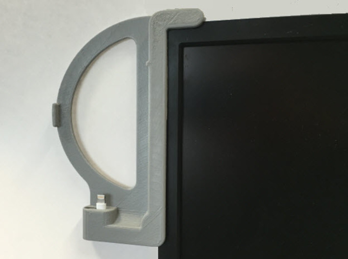 iPhone 6 - Case and Standard Lightning - Dock 3d printed Dock Mounted to Monitor