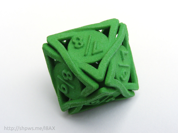 Large 'Twined' Dice D8 Spindown Tarmogoyf P/T Die 3d printed The model in its blank state as you will receive it