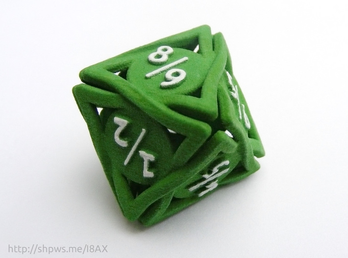 Large 'Twined' Dice D8 Spindown Tarmogoyf P/T Die 3d printed The model in green plastic with hand painted numbers
