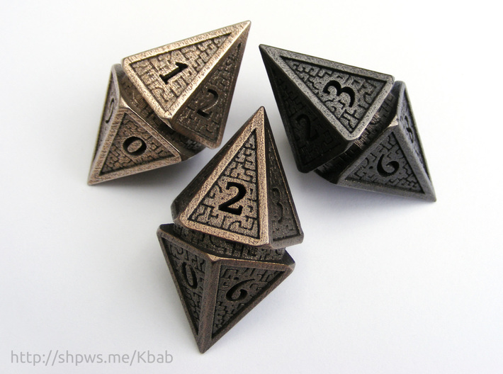 Hedron D10 Spindown Life Counter - HOLLOW DIE 3d printed The model in stainless steel, polished bronze, and polished grey steel