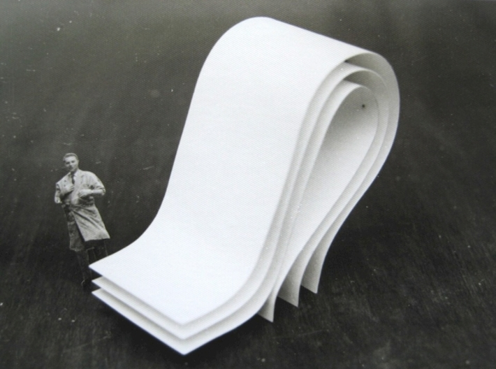 curves B (large) 3d printed The sculpture is based on this cardboard and paper model I built in the late 1970s.