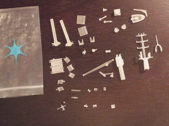 Rmah (A61), Details (1:200 model) 3d printed parts as they come printed
