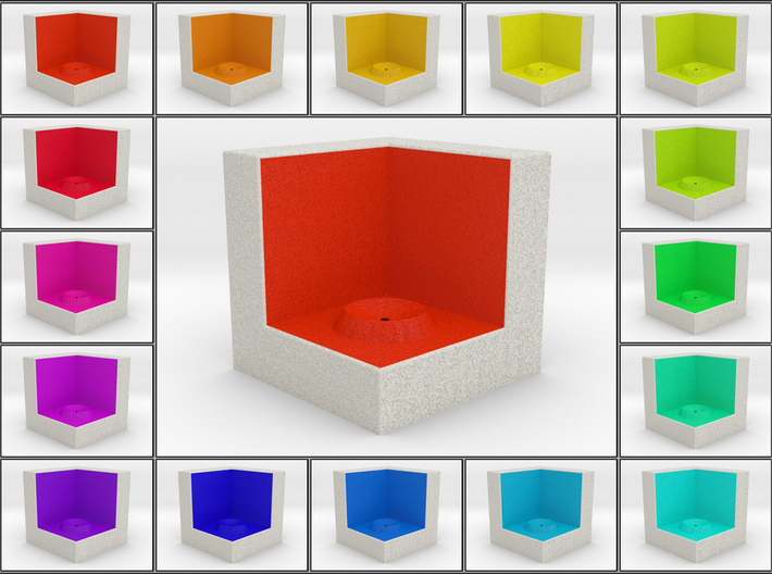 LuminOrb 2.1 - Cube Stand 3d printed Shapeways render of Cube Display Stand for JOY in Full Color Sandstone