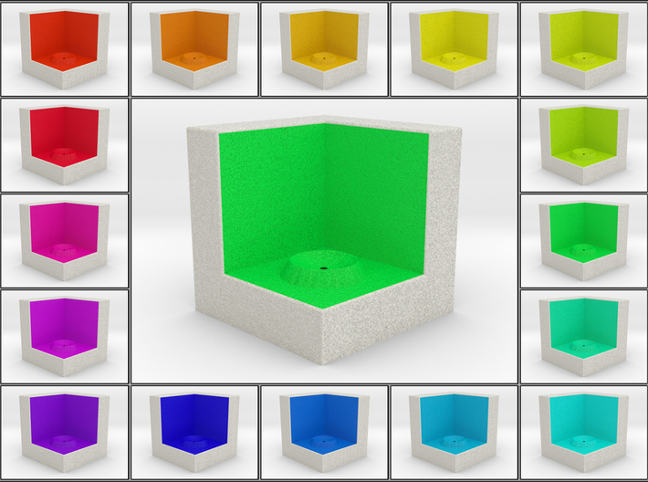 LuminOrb 2.2 - Cube Stand 3d printed Shapeways render of Cube Display Stand for PEACE in Full Color Sandstone
