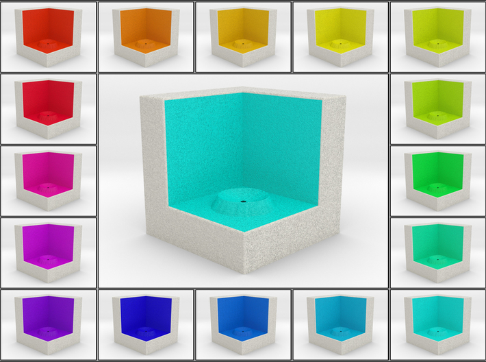 LuminOrb 2.5 - Cube Stand 3d printed Shapeways render of Cube Display Stand for HARMONY in Full Color Sandstone
