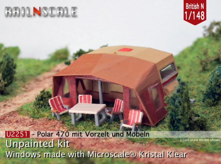 Polar 470 Caravan with tent (British N 1:148) 3d printed