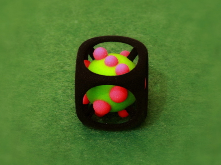 Dice No.1-c Green S (balanced) (2.4cm/0.94in) 3d printed