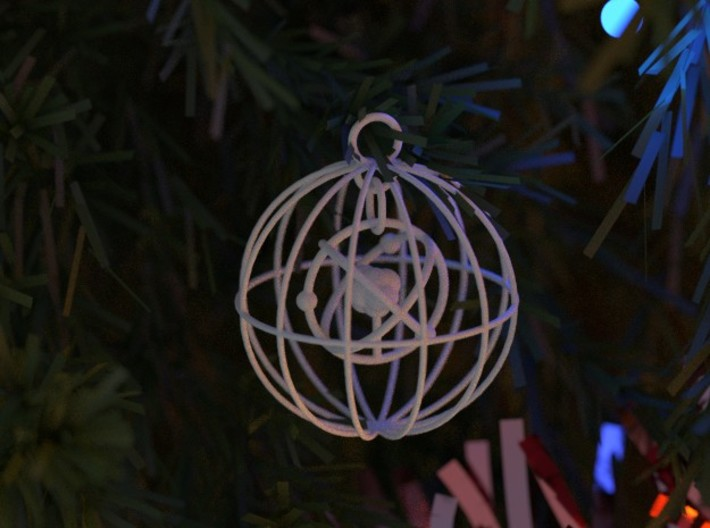 Christmas Bauble Atom 3d printed Render illustrating new thicker wires.