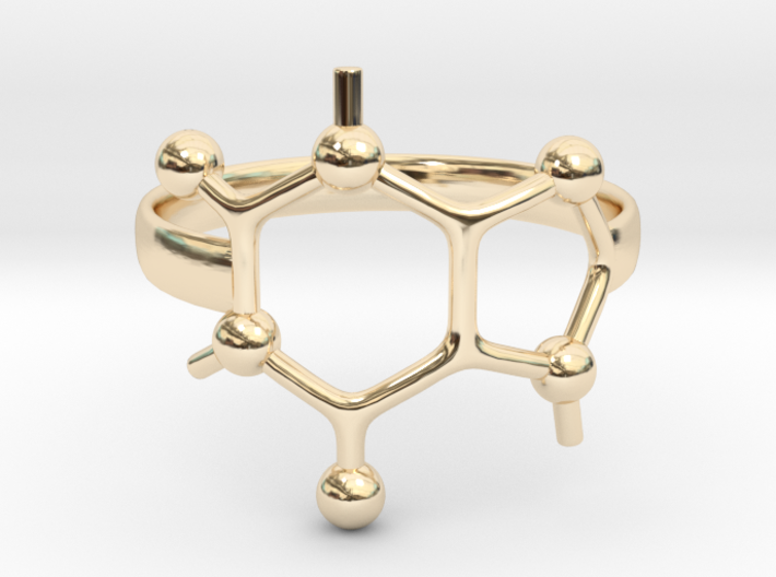 Caffeine Molecule ring - Size 7 3d printed