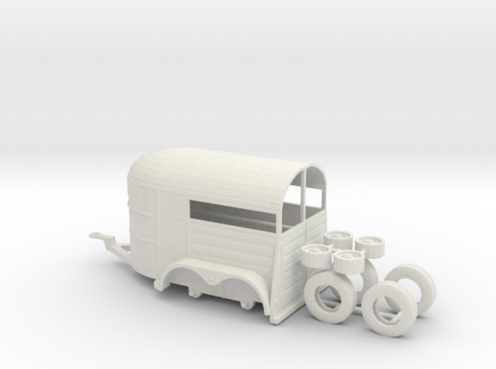1/64th Tandem axle 13' long horse trailer 3d printed