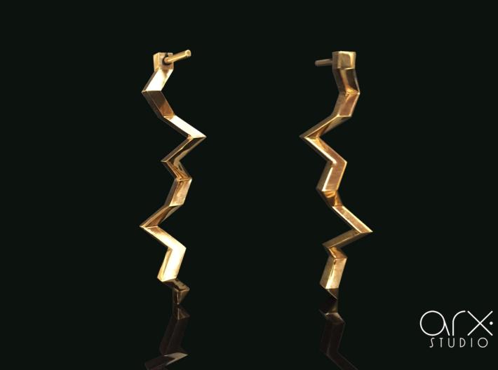 Thunderbolt Earrings 3d printed Photo by ARX Studio