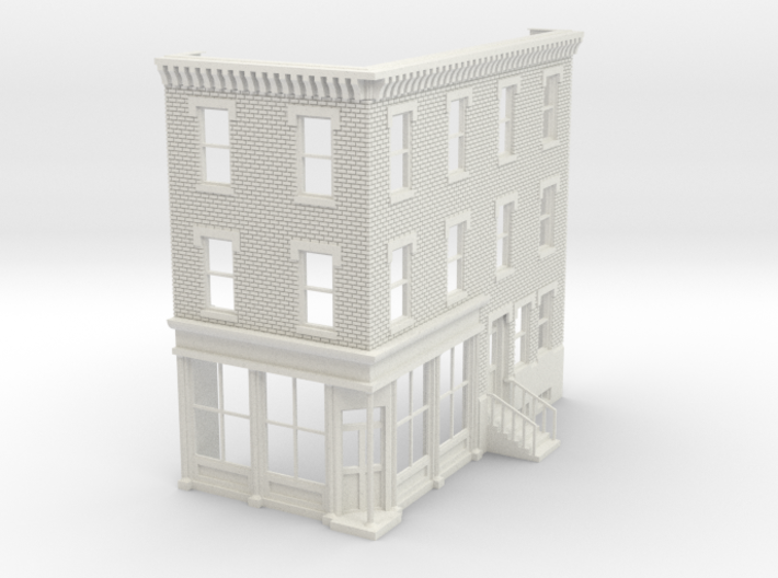 Philadelphia Corner Store 3 stories 1/87 front  3d printed