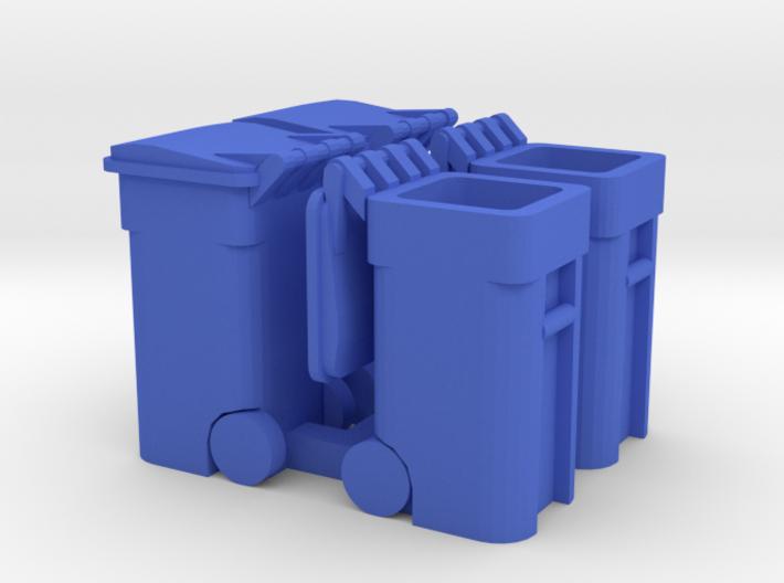 Trash Cart 64 gal Mixed - HO 87:1 Scale Qty (4) 3d printed